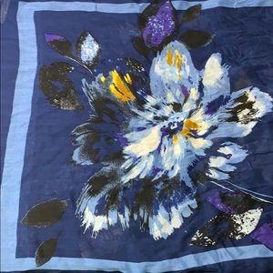 """Talbots Blue Floral Scarf 79""""L x 20"""" W"""